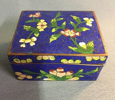 Cloisonné Hinged Trinket Box Blue With Flowers- Enamel Brass China