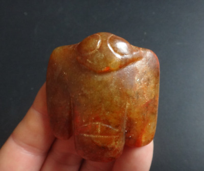 Chinese old hongshan culture jade, hand-carved eagle statue, Pendant #395