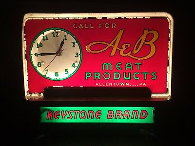 1930's Allentown Pa A & B Meat Products Keystone Brand Back Lit Halo Sign Clock
