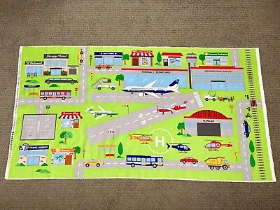 Airport Playmat Fabric Panel Road Plane Helicopter Bus Car Town Boys Quilting