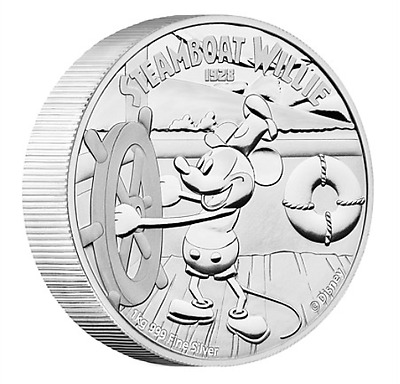 STEAMBOAT WILLIE Mickey Mouse Disney 1 Kg Kilo Silver Proof Coin 100$ Niue 2015