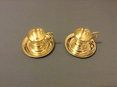2 Lenox Sterling Silver Demitasse Holders and Saucers