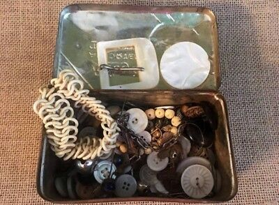 Mother Of Pearl Belt Buckle and Buttons w/Collectable Tin Riley's Advertising