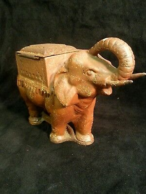 Vintage Elephant Cigarette Holder Dispenser Cast Iron tobacciana smoking novelty