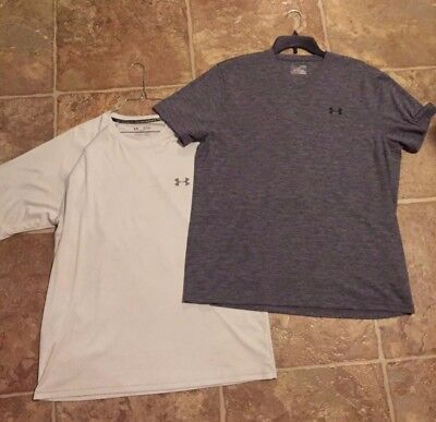 Under Armour Bundle 2 Mens Shirts XL Heat Gear One Gray One White