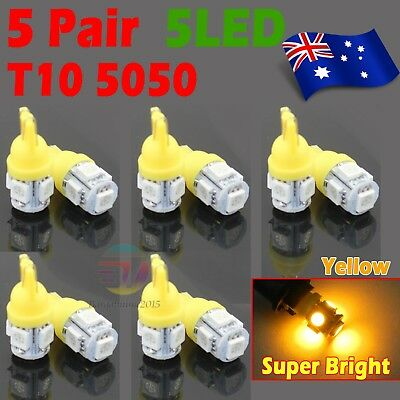 10x Yellow T10 5050 SMD 5LED Car Wedge Stop Plate Light Interior Park Lamp Bulb