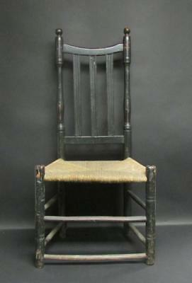 Early-Late 18th Century Poplar and Ash Bannisterback Chair with old black paint