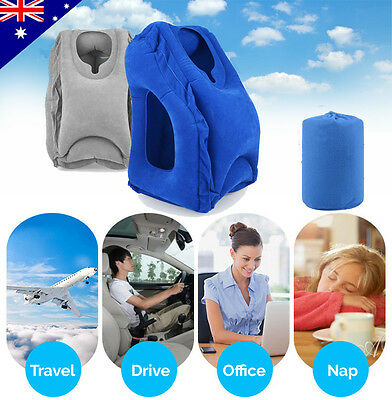Inflatable Air Cushion Travel Pillow Head Neck Support Sleep Flight Camping AU