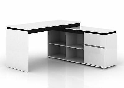 Milano High Gloss Executive Office Home Corner Desk with Storage White