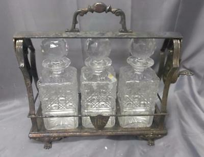 Old Antique Sheffield English England Crystal Cut Glass Decanter Tantalus Holder
