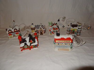 Lot of 6 Christmas Village Houses Porcelain Lighted Train Display Plus Pro 1994