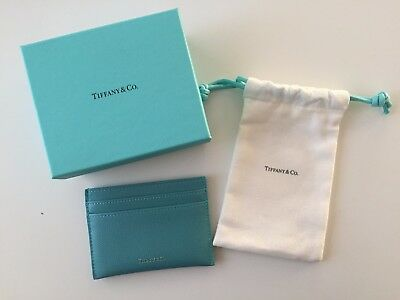Authentic New Tiffany & Co. Leather Green / Blue Card Case Holder Made in Italy