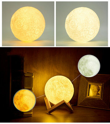3D LED Full Moon Print Night Light 0.5 W Personality Desk Rechargeable Lamp