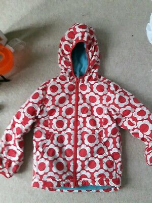 great condition mini boden fleece lined anorak red flowers girls age  9-10