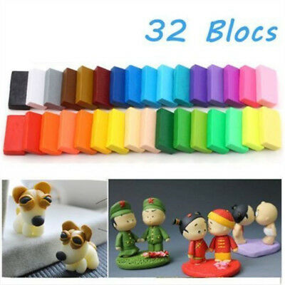 32 Colorful Soft Polymer Plasticine Fimo Effect Clay Blocks Educational Gift AU