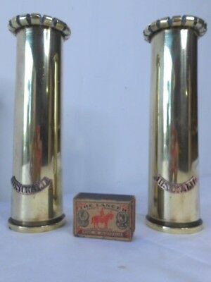 Pair Of Vintage Wwii Australian Brass Trench Art Military Artillery Shell Vases