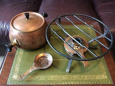 Antique vintage copper and brass pot with burner stove