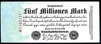 Germany. Five Million Mark,  B.7482321, 25-7-1923. Extremely Fine.