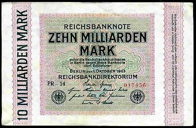 Germany. Ten Milliarden Mark, PR-14  017456, 1-10-1923, Good Very Fine.