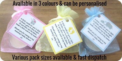 10/15/20/24/30/40/45 Baby Shower Candle Tea Light Favours Blue Pink Yellow Gifts
