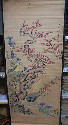 Exquisite Chinese Paper Ink Famous landscape painting pheasants Statue Scroll