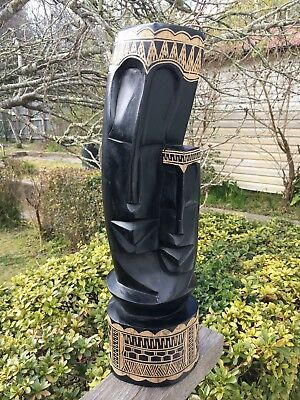 Large Tribal Statue Bust Mother Father Child African Carved Wood Black