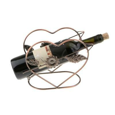 Heart Shape Wine Bottle Holder Rack Bar Desktop Display Stand Bracket Copper