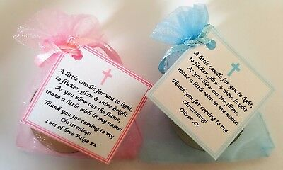 CHRISTENING /BAPTISM FAVOURS GUEST GIFTS vanilla candle tealights - personalised