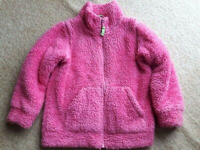 mini boden fluffy fleece coat age 5-6 pink girls