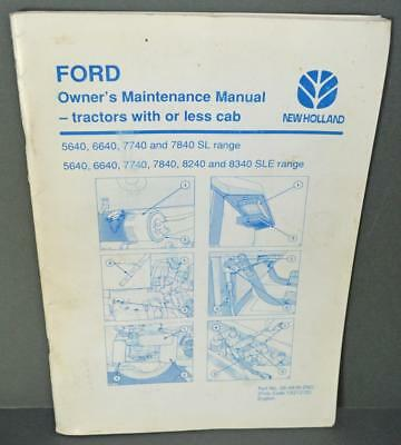 Old Ford / New Holland Owners Maintenance Manual.