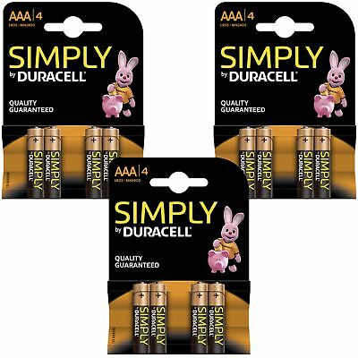 12 x Duracell Simply AAA 1.5v Batteries Pack Alkaline LR03 MN2400 Lasting Power