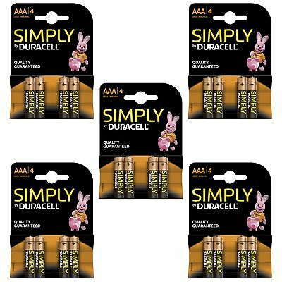 20 x Duracell Simply AAA 1.5v Batteries Pack Alkaline LR03 MN2400 Lasting Power