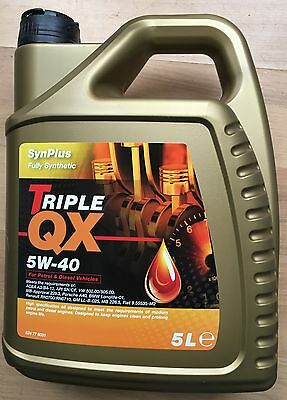 Triple QX SynPlus SAE 5W40 Fully Synthetic Car Engine Oil 5L A3 B3 B4 5 Litre