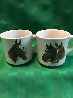 Vintage Horse Coffee Mugs ~ Set of Two