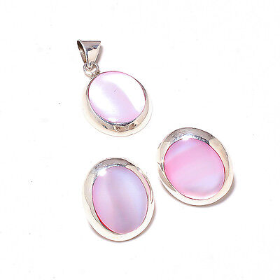 Deluxe! Pink Mother Of Pearl Gemstone Sterling 925 Silver Stylish Jewellery Set