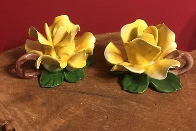 Vintage 2 Large Capodimonte Italy Yellow Rose Candle Holders
