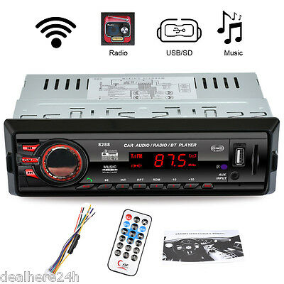 1DIN Bluetooth FM Radio Coche Estéreo MP3 Reproductor Receptor AUX-IN USB SD MMC