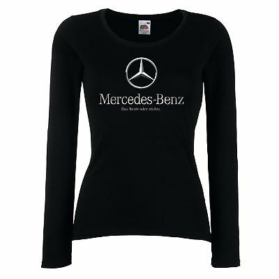 DAMEN/LADY BLACK T-SHIRT Mercedes 3 AMG CAR logo Xmas Geschenk