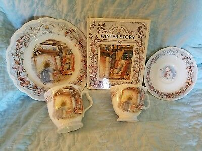 Royal Doulton Brambly Hedge WINTER Tea Plate w/ Cup & Saucer & Book