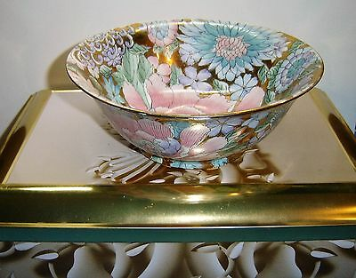 Vintage H.F.P. Macau  Chinese bowl Made In China Toyo  Floral with Gold Gilt .