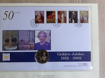 2002 B/U Isle of Man Crown Coin PNC - The Queen's Golden Jubilee FDC.