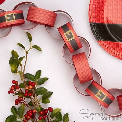 DEAR SANTA Father Christmas Paper Chains/Banner/Decorations - Red/Black/Gold