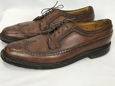 Vtg Florsheim Imperial Brown Leather Wingtips V Cleat 5 Nail 11 B