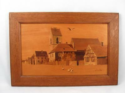 Antique/vintage Wood Inlay Marquetry Framed Picture Of A Village Scene Signed