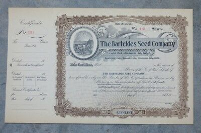 Original 1906 Barteldes Seed Company Stock Certificate Lawrence Kansas Denver CO