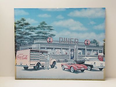 Coca Cola Print 16 x 20 Pamela Renfroe Art Old Diner/Delivery Truck/Classic Cars