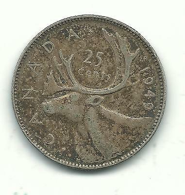 Very Nice Higher Grade Vintage 1949 Canada 25 Cents Silver Coin-Jan616
