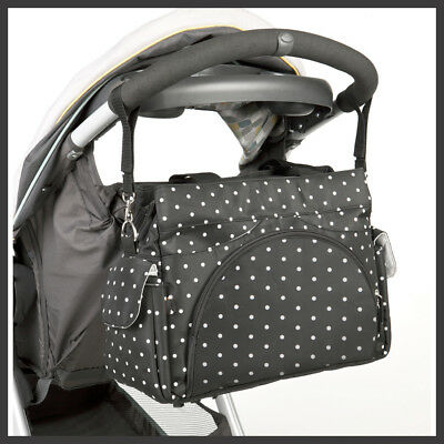 Allis Holiday Baby Changing Bag Nappy Tote Insulated Diaper Bag 3PCS - Black Dot