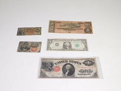 1917 One Dollar U.S. Note Circulated Lot, Fractional Currency, Civil War