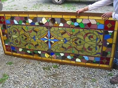 Gorgeous Floral Jeweled. Stained Glass Antique Stain Glass Window Circa 1903